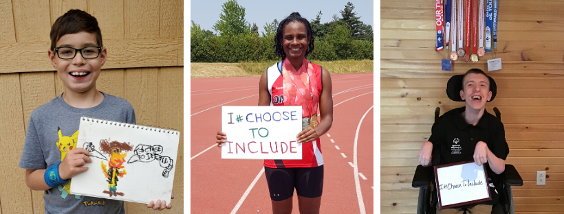 """Athletes hold up I #ChooseToInclude signs"
