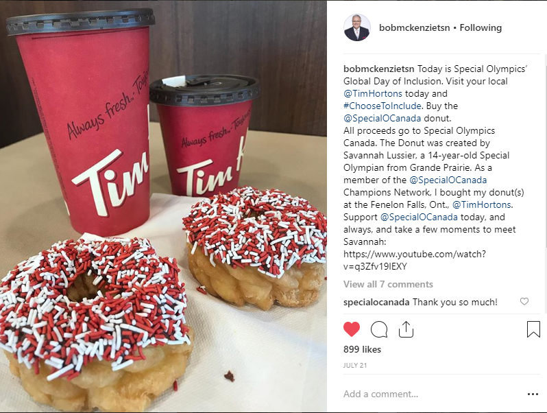 TSN's Bob McKenzie post a picture of the Special Olympics Donut to his Instagram.