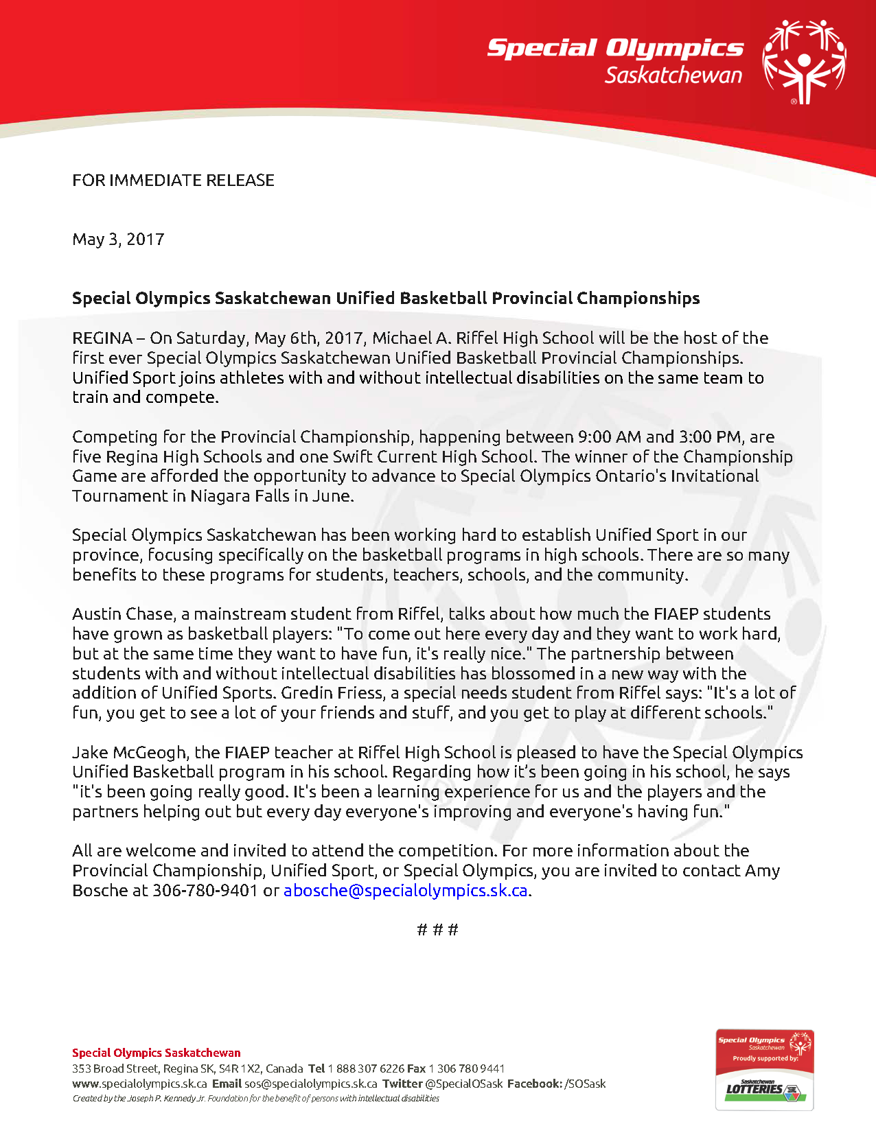 FOR IMMEDIATE RELEASE - Special Olympics Saskatchewan Unified Basketball Provincial Championships_Page_1