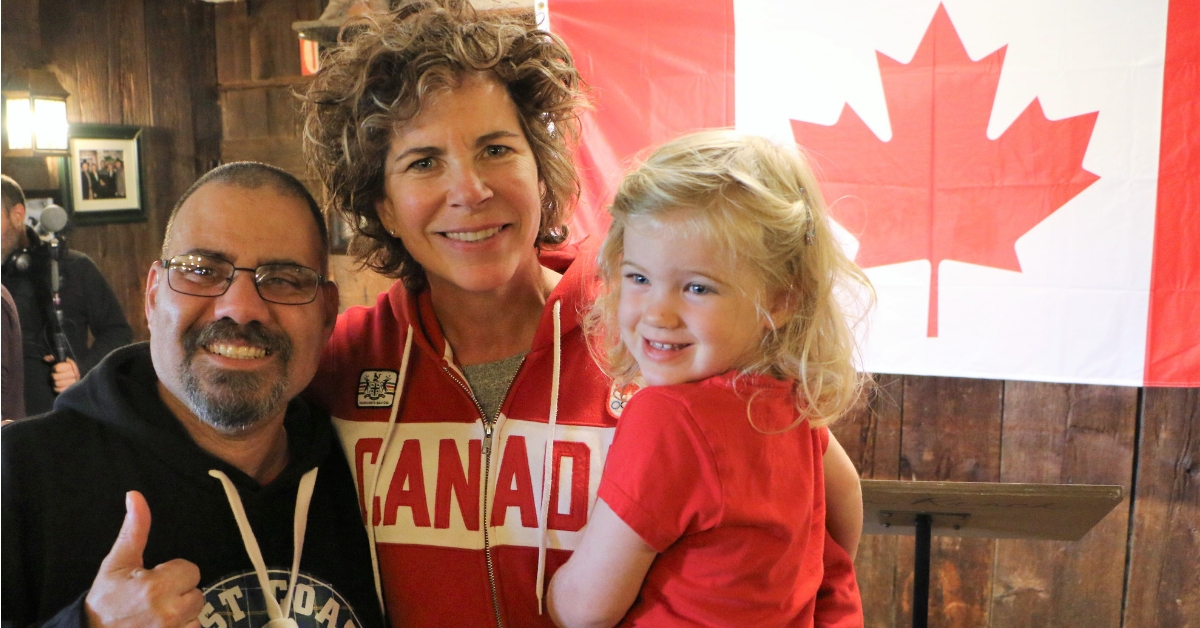 Marnie McBean with daughter Isabel and a Special Olympics Team Canada athlete.