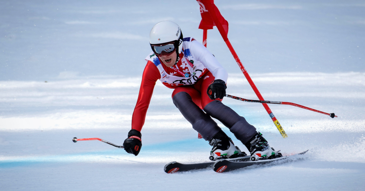 Matthew Fields is pictured downhill skiing