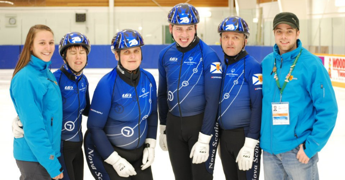 Michael McArthur (right) with his Halifax speed skating team.
