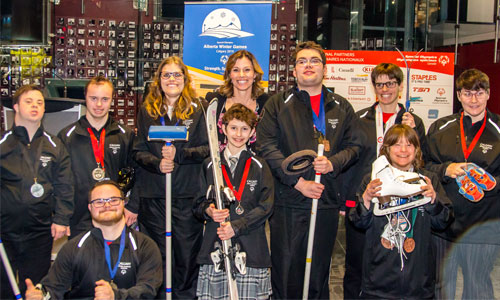 Group of athletes at the media launch for Special Olympics Alberta