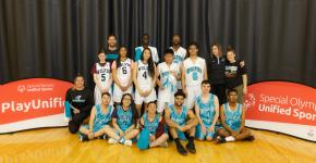 Bishop McNally Unified Basketball team