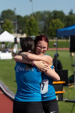 Athletes hugging
