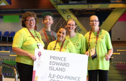 4 Athletes, 1 Coach, PEI, Swimming, National Summer Games