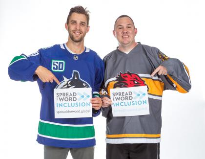 Spread the Word Inclusion Canucks forward Brandon Sutter Special Olympics athlete Michael Langridge