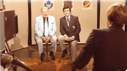 Bernie Pascall doing a broadcast seated next to Harold Ballard, an old owner of the Toronto Maple Leafs