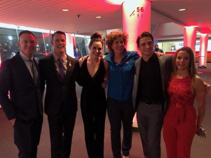 Mark Tewskbury poses for a photo with Champions Network members Marnie McBean, Tessa Virtue and Scott Moir.