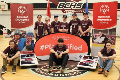 Unified Bean Bag Toss in Bonnyville Centralized High School