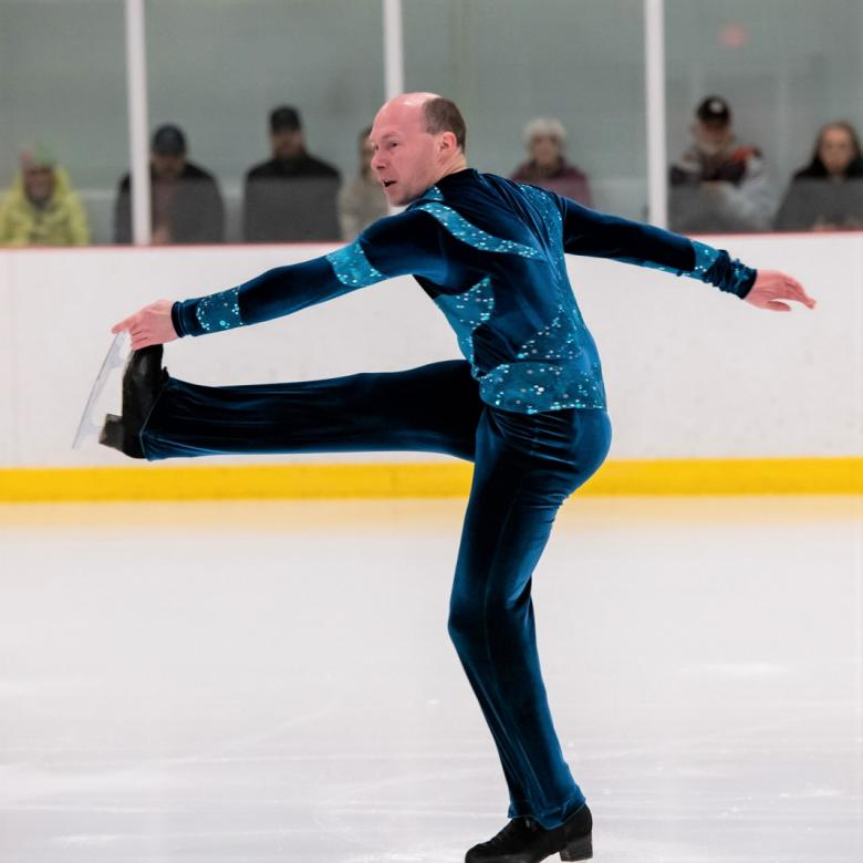 Special Olympics BC Marc Theriault performs on the ice
