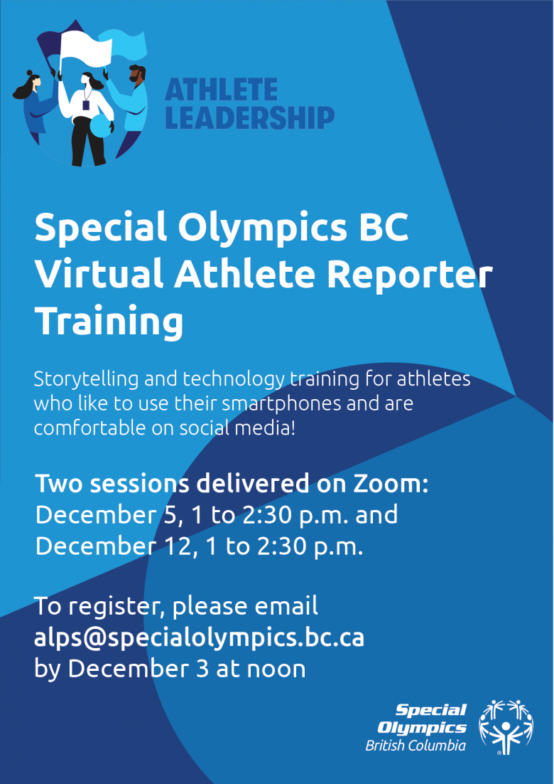 SOBC Virtual Athlete Reporter Training poster
