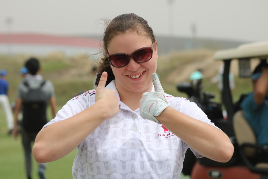 Emma Bittorf gives the thumbs up