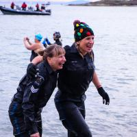 Saanich Police Department members freezin' for a reason at the Vancouver Island Polar Plunge. Photo by Roy Whitney.