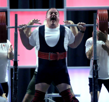Jackie Barrett screams out during the squat competition at World Games in 2015.
