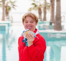 SO Team Canada swimmer Bobbi Lynn Cleland holds up her medals from World Games.