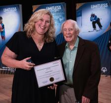 2019 Special Olympics Canada Female Coach of the Year recipient Angela Behn (left) with Dr. Frank Hayden.