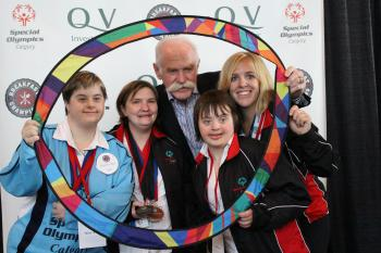 Special Olympics athletes and Lanny McDonald