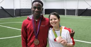 Soccer player Eddie Nicks with Diana Matheson