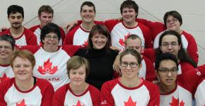 SOC CEO Sharon Bollenbach with Special Olympics Team Canada athletes.