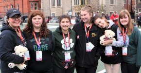 Unified Bocce Team from Sault Ste Marie pose for a photo in Toronto
