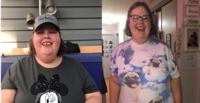 Christine Hoffman's before and after weight loss pictures side by side.