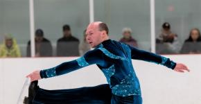 Special Olympics BC athlete Marc Theriault performs on the ice.