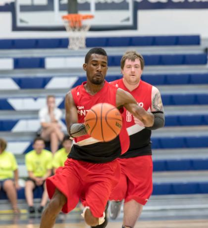 Team Canada basketball player Michael Wright in action.
