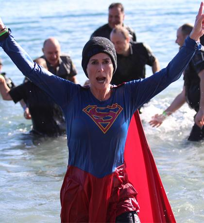 Oak Bay Police Department Constable Sheri Lucas takes the Plunge at Willows Beach.