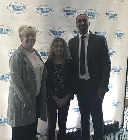 SOBC – Coquitlam Local Coordinator Sheila Hogan (centre), Delta North MLA and Parliamentary Secretary for Sport and Multiculturalism Ravi Kahlon (right), and SOBC Vice President, Sport, Lois McNary (left) at the Sport BC award ceremony.