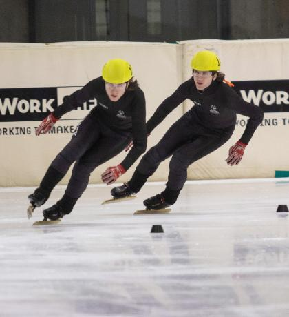 Special Olympics speed skaters