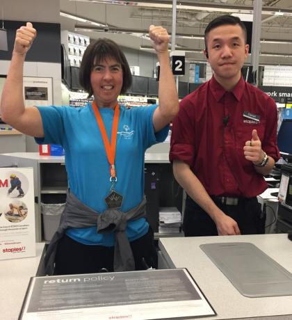 Thumbs up for Give a Toonie Share a Dream at the Staples store in Coquitlam.