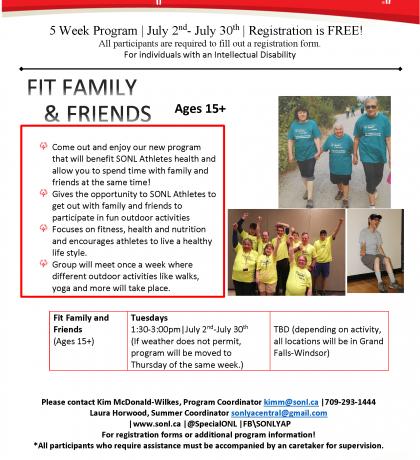 Fit Family and Friends Summer Program - Grand Falls-Windsor