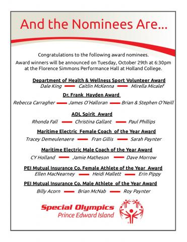 2018 - 2019 Special Olympics PEI Awards Nominees