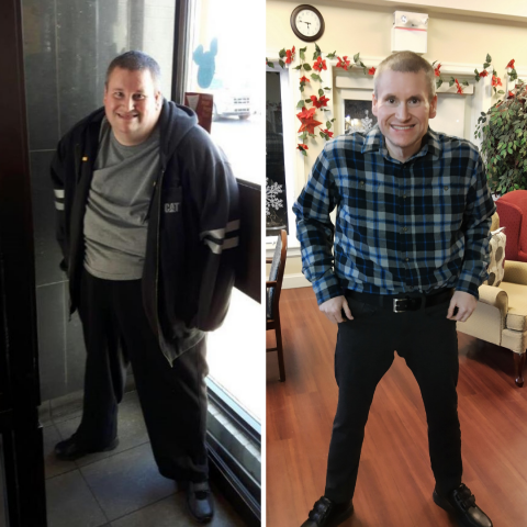 Photos of Dereck Boutilier before and after weight loss