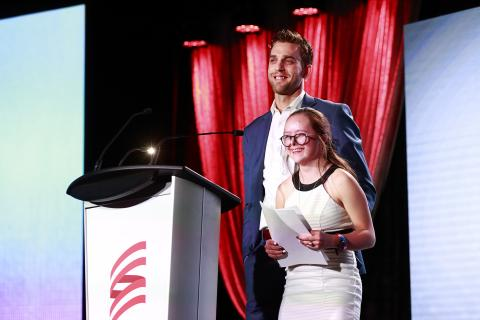 SOBC – Abbotsford athlete Paige Norton and Vancouver Canucks forward Brandon Sutter at the 2018 Sports Celebrities Festival