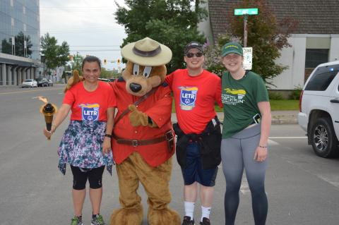 The RCMP Safety Bear makes an appearance at the Prince George Torch Run.