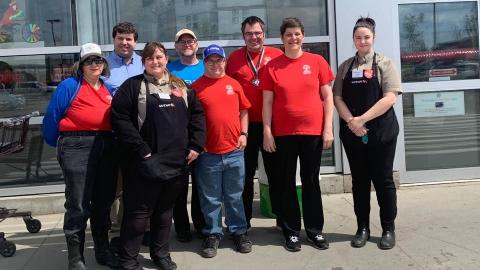 Big smiles with Safeway Dawson Creek employees and SOBC – Dawson Creek athletes.