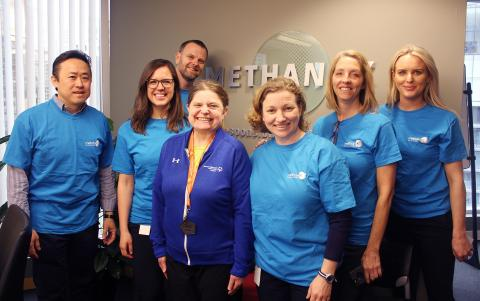 Special Olympics athlete Sheryl Spurr and Methanex staff