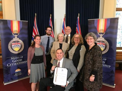 SOBC – Victoria athlete Michael Langridge receives his Medal of Good Citizenship.