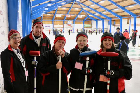 SOBC - Sunshine Coast Polar Bears curling team at 2019 Provincial Games