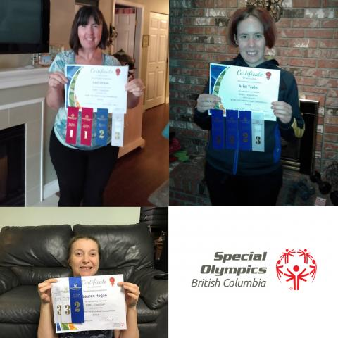 SOBC – Coquitlam athletes Lauren Hogan, Ariel Taylor, and Lori Urban proudly display their results from the competition.