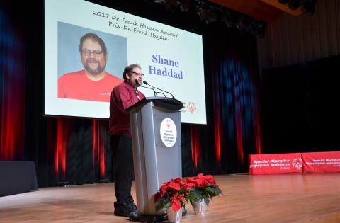 """Shane Haddad speaks at a podium at the Special Olympics Canada National Awards 2017."