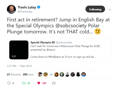 Travis Lulay Polar Plunge tweet